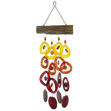 Recycled Glass Bottle Wind Chime on Driftwood : Tropical Sunset