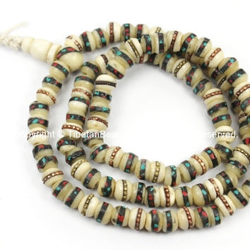 108 Beads 6mm-7mm Size Tibetan White Bone Mala Prayer Beads with Brass, Copper, Turquoise, Coral Inlays- Malas Tibetan Prayer Beads- PB12XS
