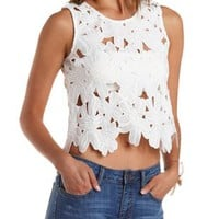 White Crocheted Flower Swing Tank Top by Charlotte Russe