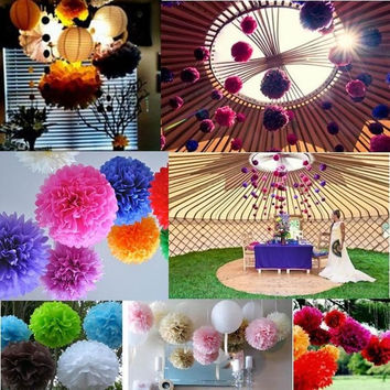 5pcs/lot  Sweet Paper Peony Flower Tissue Paper Poms Wedding Party Garden Home House Decoration ZH-10cm = 1932334212