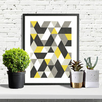 Geometric Prints Triangle Geometric Print Digital Printable Art Scandinavian Modern Art Abstract Prints Abstract Art Yellow and Grey