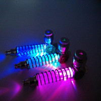 Spring Tube Colorfull Led light Metal Smoking Herb Pipe Portable Tobacco Pipes for Smoke With screens