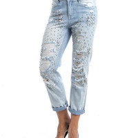 Light Blue Ripped Boyfriend Jeans With Diamonds And Silver Metal Studs SP1053