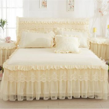 Cool Beige Princess Lace Bedspread Bed Skirt 1/3pcs Ruffles bedding Bed sheet Cotton Pillowcase Home Decorative Twin/Queen/King SizeAT_93_12