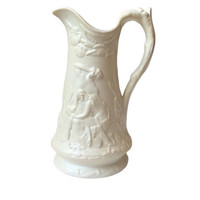 Vintage Cain and Abel Parian Pitcher Adam and Eve High Relief Staffordshire Porcelain England Jug Water Pitcher