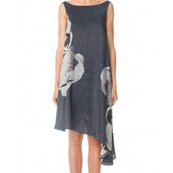 Tibi Midori Navy-Multi Silk Trapeze Dress