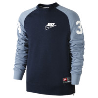 Nike Bo Crew Mesh Men's Sweatshirt Size Small (Blue)