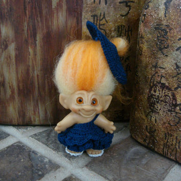 "Crochet Troll Doll Outfit Blue Dress Hat & Shoes Clothes fit 2.75""-3"" vintage trolls"