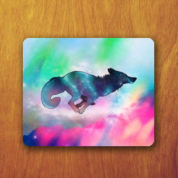 Wolf Galaxy Mouse Pad Abstract Colorful Jumping Galaxy MousePad Office Pad Work Accessory Personalized Custom Gift