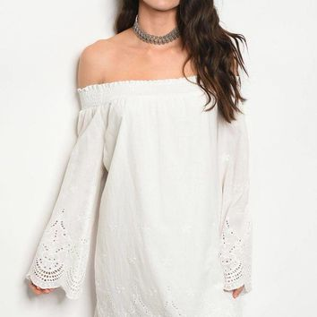 Ladies fashion long sleeve off the shoulder shift dress with lace details