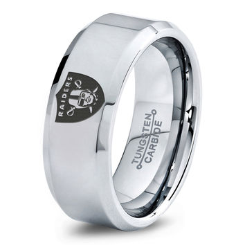 Oakland Raiders Ring Mens Fanatic NFL Sports Football Boys Girls Womens NFL Jewelry Fathers Day Gift Tungsten Carbide 009