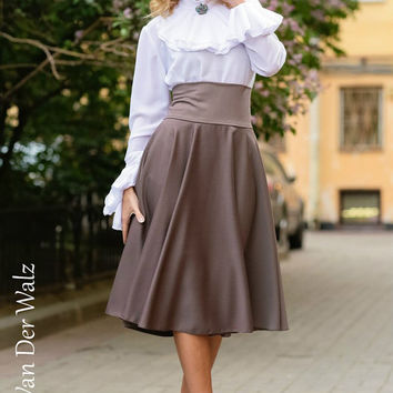 Maxi Skirt. Grey Skirt. Skirt with Pocket. Viscose,Cotton  / High Quality Designer summer long skirt. Midi Skirt, plus size skirt available