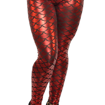 Shiny Red Mermaid Leggings Design 29