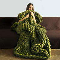 FREE SHIPPING! New version of Ohhio's Grande Punto blankets. Chunky blanket. Giant knit. Cozy throw. 23 microns merino wool.