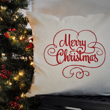 Vintage Merry Christmas Pillow Cove