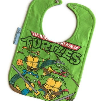 Teenage Mutant Ninja Turtles Baby Bib Upcycled Tshirt Bib Baby Boy Gift