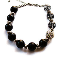Vintage Chunky Bead Necklace In Black Silver And Rhinestone Retro Necklace Mod Necklace Statement Necklace 1980's Necklace
