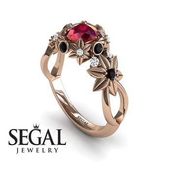 Unique Engagement Ring 14K Red Gold Flowers And Branches Art Deco Edwardian Ring Ruby With Black Diamond - Katherine