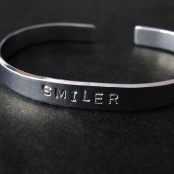Miley Cyrus Bracelet - Hand Stamped Aluminum Cuff Smiler Adjustable