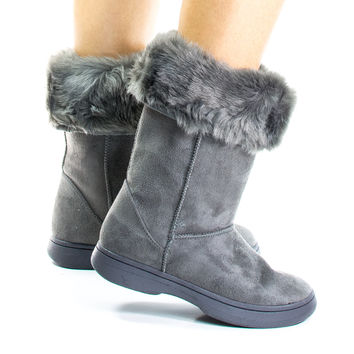 Tahoe15 Gray By Bamboo, Winter Warm Faux Sheep Skin & Synthetic Fur Cuff, Slipper Boots, Mukluk