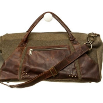 Military Blankets and Brown Leather Duffle Bag