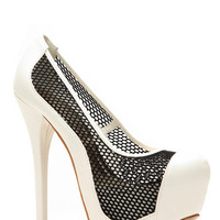 Liliana Dont Mesh With Me Black and White Pumps