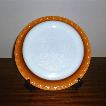 "Vintage 1960s Crown Pyrex 26 cm Diameter ""Sunset"" Coloured Scalloped Pie Dish / Retro Glass Circular Dish / 10"" Diameter"
