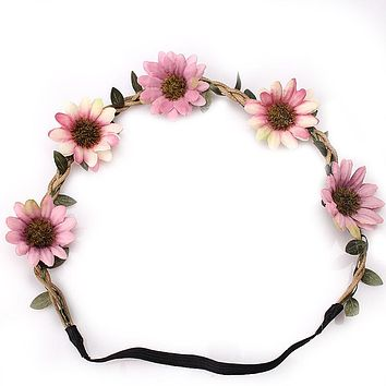 M MISM Bohemian Style Women Headband Flower Hair band Crown Wedding Wreath Bridal Headdress Forehead Head Band Hair Accessories