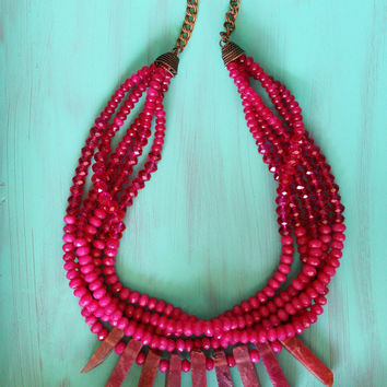 Pink stone statement necklace, agate sticks, monochrome