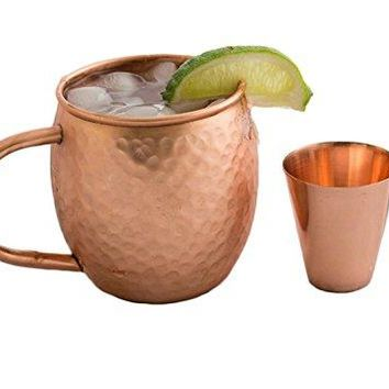 STREET CRAFT Pure Solid Moscow Mule Copper Mugs Cup Capacity 18 Ounce Free One Copper Shot Glasses Size 2 Ounce