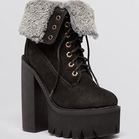 Jeffrey Campbell Lace Up Platform Lug Sole Combat Boots - In Charge