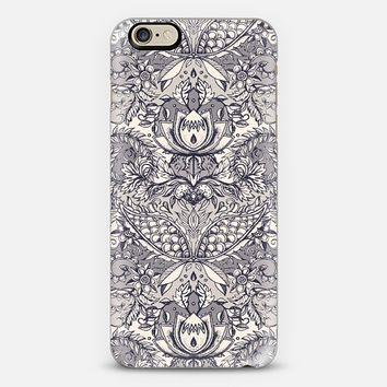 Natural Rhythm 2 - a hand drawn pattern in charcoal & cream iPhone 6 case by Micklyn Le Feuvre | Casetify