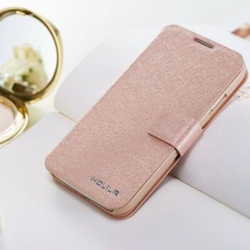 Luxury Wallet Silk Leather Stand Flip case cover for iPhone 4S 5 5S 5C 6 6S Plus