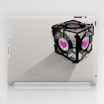 "Lonely Love Cube (Companion Cube from ""Portal"") iPad Case by Allison Reich"