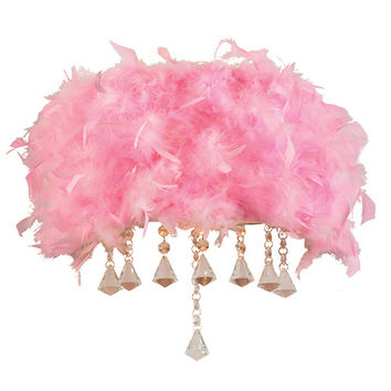PLC Lighting 73045PINK Peacock Polished Chrome Two-Light Wall Sconce with Pink Ostrich Feather Shade