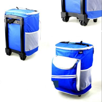 Outdoor 16L Soft Sided 48 Can Rolling Cooler Trolley Fishing Picnic Shopping