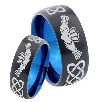 His Hers Irish Claddagh Dome Tungsten Carbide Blue Wedding Ring Set