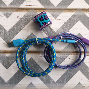 New Super Cute Jeweled Purple/Turquoise Blue Cheetah Print Designed USB Wall Connector + 3ft Turquoise & Purple Braided iPhone Cable Cords