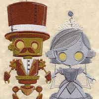 6 pc SET BATh towels - Steampunk Wedding Robot Bride & Groom - Embroidered