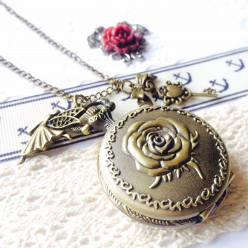 HAPPY ANGEL Rose Watch Necklace - small skeleton key charm VSQ019