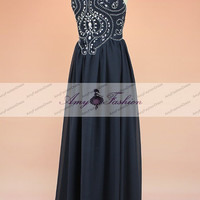 2015 New Fashion Custom Made Navy Blue Prom Dresses Chiffon Gown Backless Bridesmaid Dress Elegant Formal Evening Gown With Beaded Top
