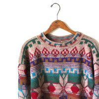vintage TRIBAL print sweater. M/L