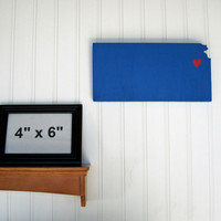 "Kansas Jayhawks ""State Heart"" wall art, handcrafted wood with official team colors"