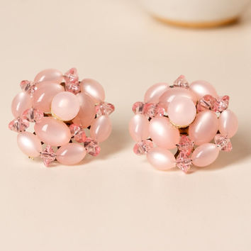 Vintage Pink Cluster Clip Earrings with Moonstone and Clear Beads