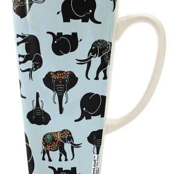 Mixed Elephants AOP 16 Ounce Conical Latte Coffee Mug All Over Print