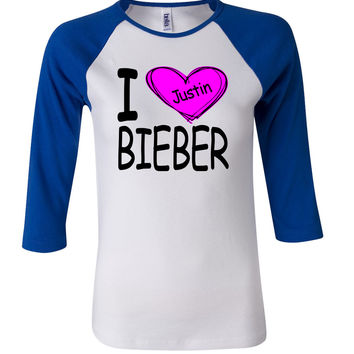 Justin Bieber I heart 3/4 Sleeve Baseball Ladies Jersey