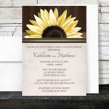 Sunflower Couples Shower Invitations Rustic - Yellow Floral Country Wood with Green and Beige - Printed Invitations