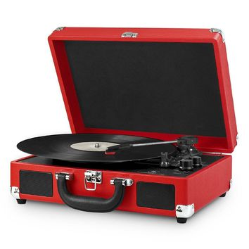 Innovative Technology, Portable Victrola Suitcase Record Player with Bluetooth and 3 Speed Turntable, RED