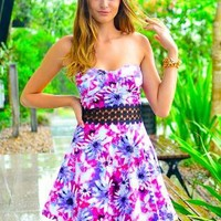 Floral Print Strapless Dress with Crochet Waist&Padded Bust