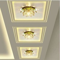 Lotus Modern LED Crystal Ceiling Light Surface Mounted Led Ceiling Lamp Lighting Fixture for Living Room Bedroom lamparas de
